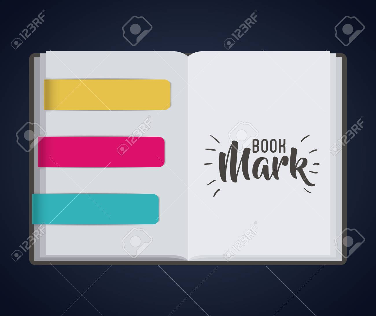 bookmark label tag and book icon guidebook decoration reading