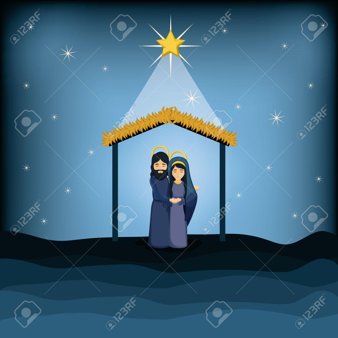 Jesus God And Mary Cartoon Icon. Holy Family And Merry Christmas ...