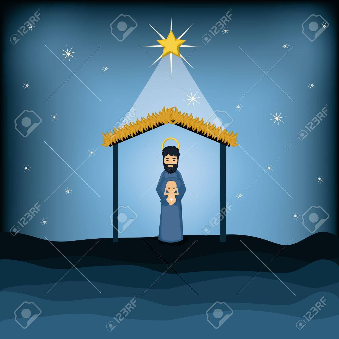 Joseph And Baby Jesus Cartoon Icon. Holy Family And Merry Christmas ...