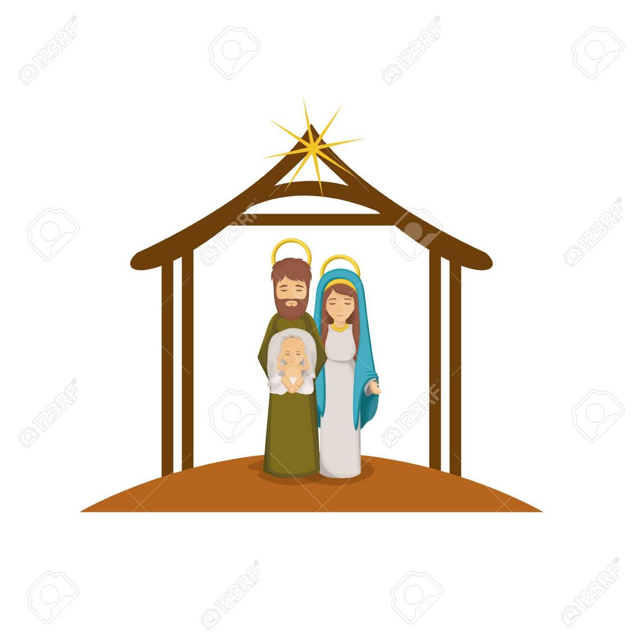 Dibujos De Navidad Con Jesus.Maria Jose Y El Nino Jesus Icono De Dibujos Animados Sagrada Familia Y El Tema De La Temporada De Navidad Feliz El Diseno Colorido Ilustracion