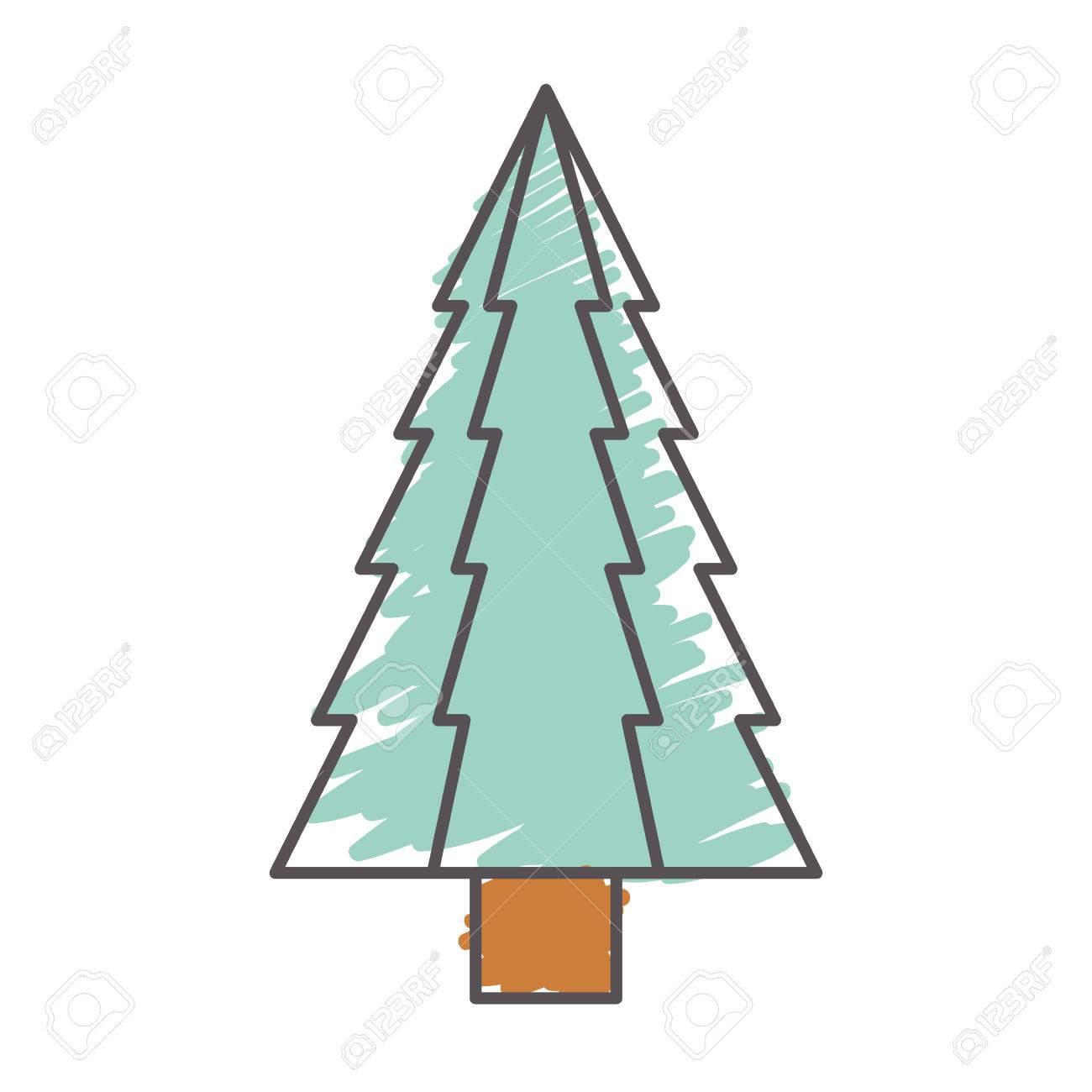 Pino De Navidad Icono De árbol Alto Dibujar Y Dibujar El Diseño