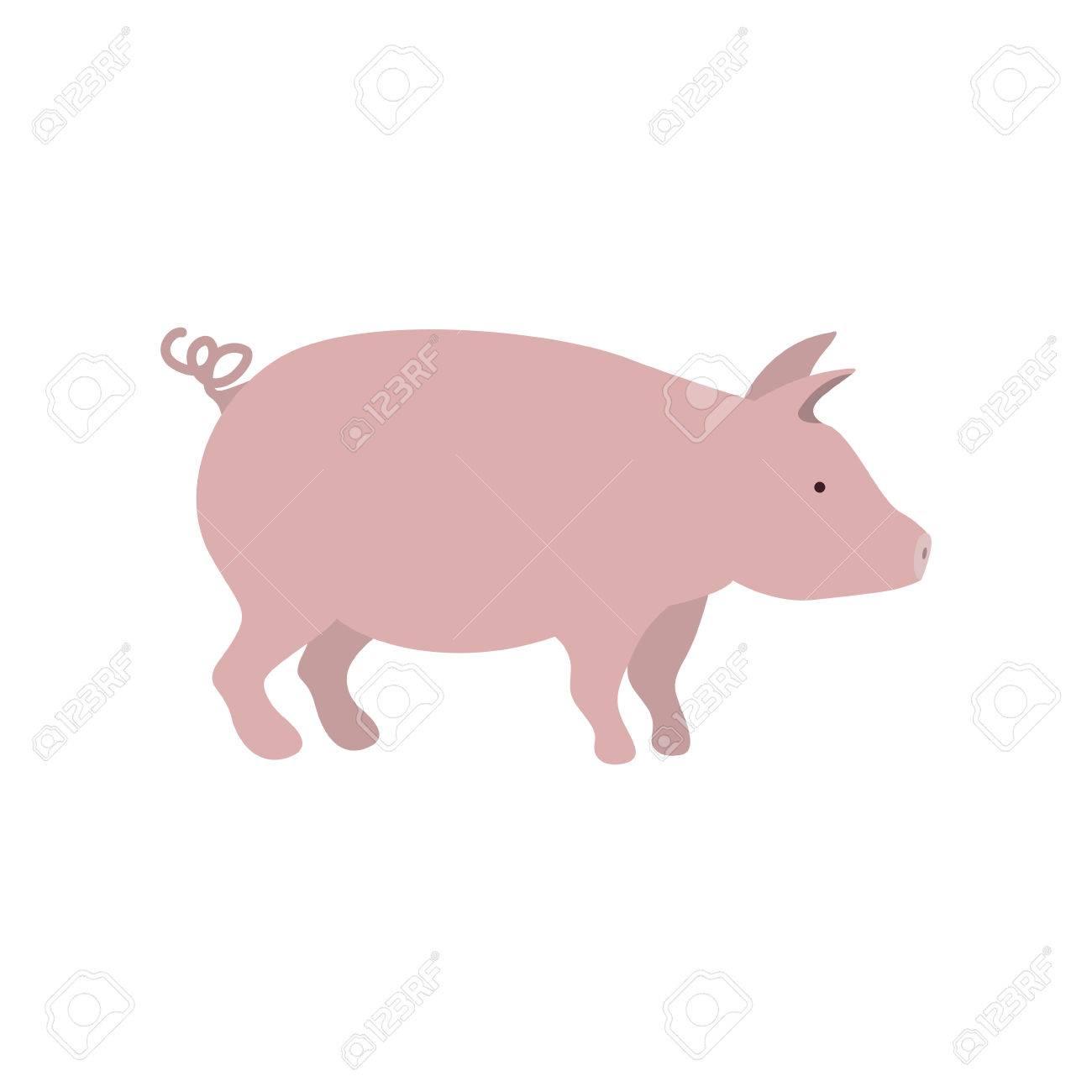 ピンクのブタのベクトル イラスト シルエット カラーのイラスト素材
