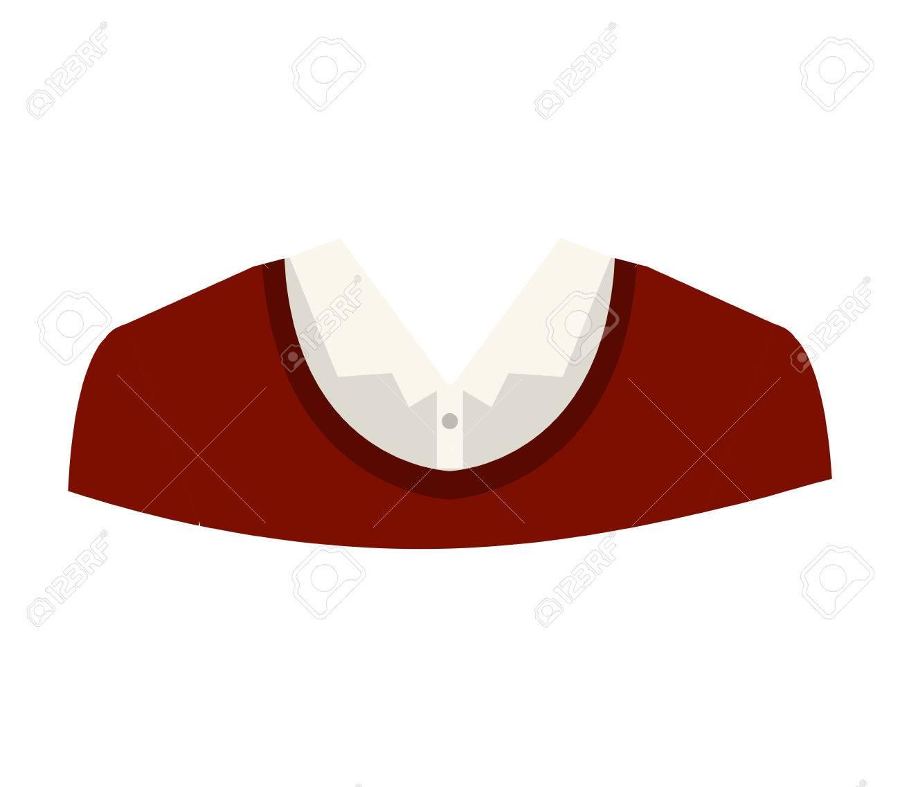 6f86271a8 Foto de archivo - Suéter rojo y camisa blanca. ropa de hombre ejecutivo y  de negocios sobre fondo blanco. ilustración vectorial