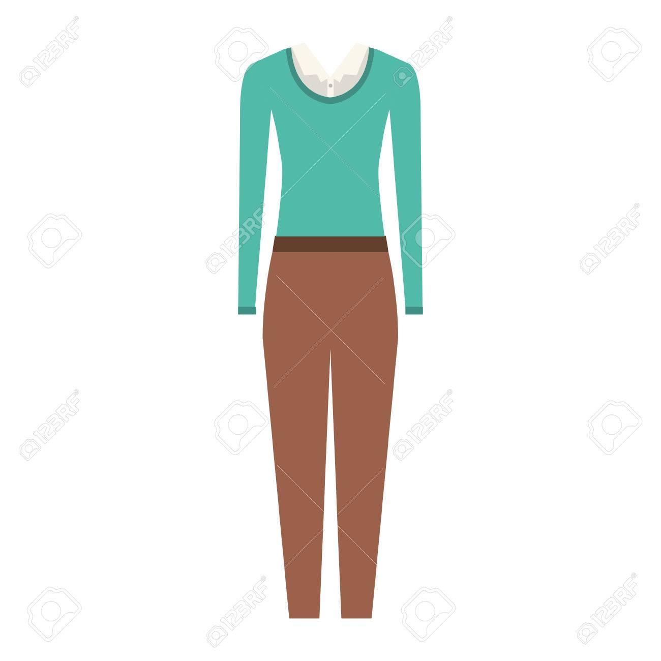 7c7c5236d Foto de archivo - Pantalón marrón y una blusa blanca con el suéter azul.  proyecto ejecutivo ropa de mujer. ilustración vectorial