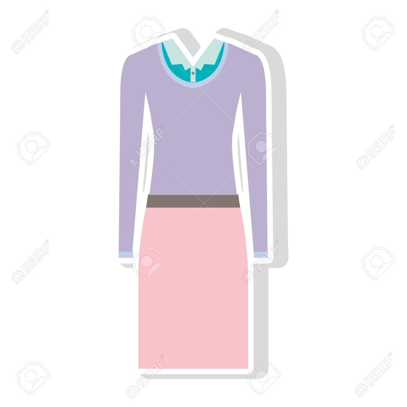 Falda de color rosa y blusa azul con el suéter púrpura. proyecto ejecutivo ropa de mujer. ilustración vectorial