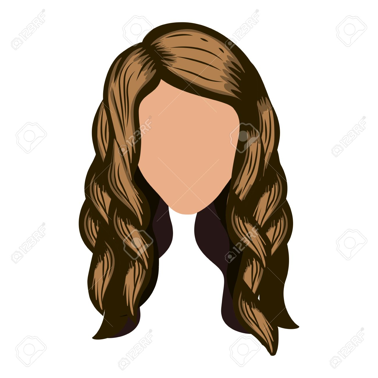Silhouette Front Face With Wavy Light Brown Hair Vector Illustration