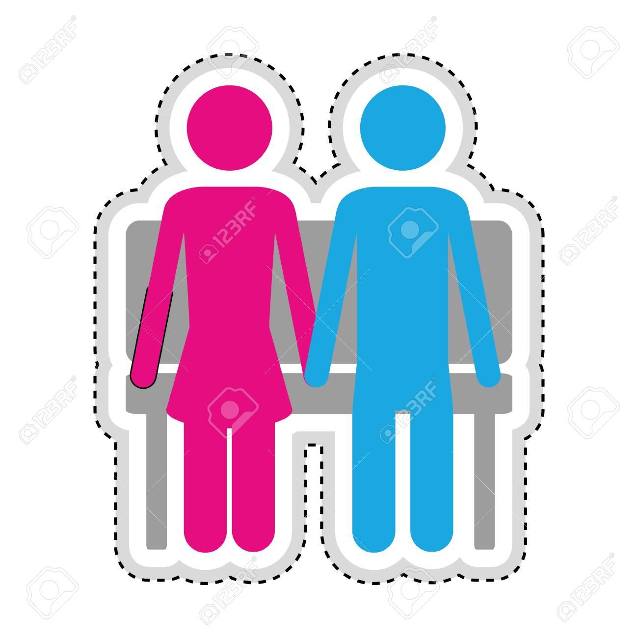 男性女性ロマンチックなカップルのアイコン画像ベクトル イラスト