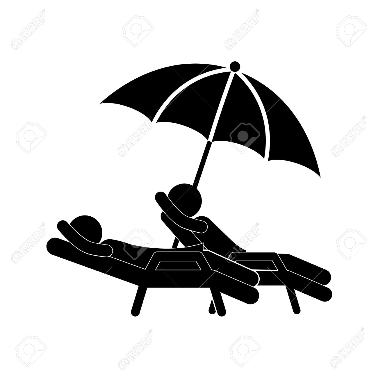 silhouette people in beach chair with umbrella vector illustration