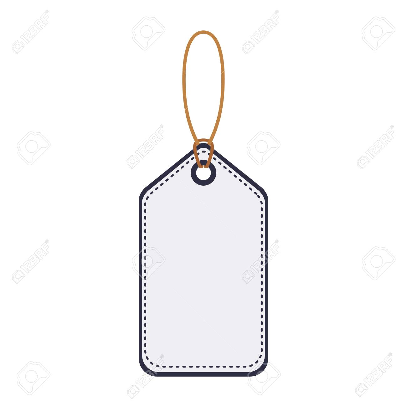 silhouette of price hanging tag template icon over white background