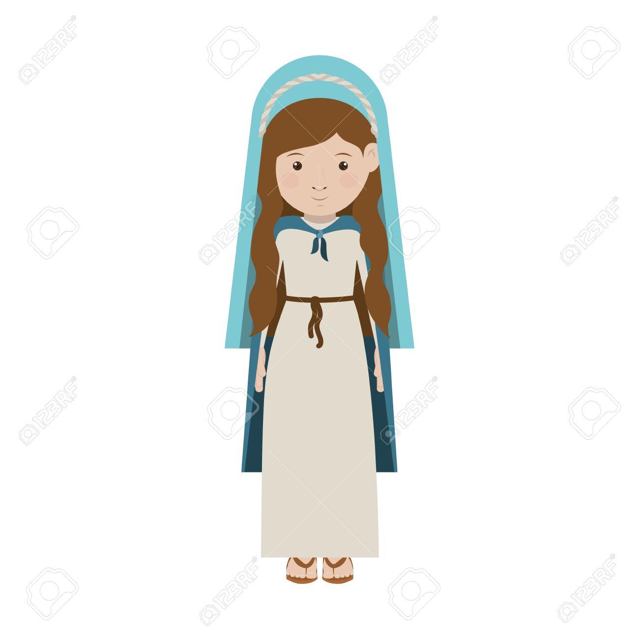 De Dibujos Animados Mujer Virgen María Sonriente Y Con Manto Azul