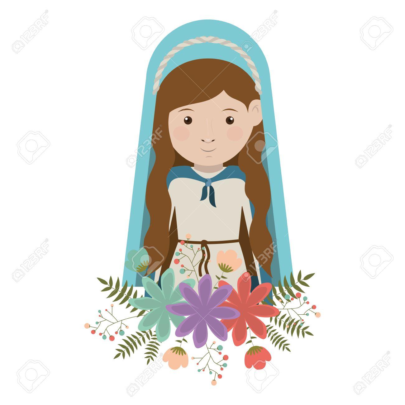 De Dibujos Animados Mujer Virgen María Sonriente Y Con Manto Azul Y