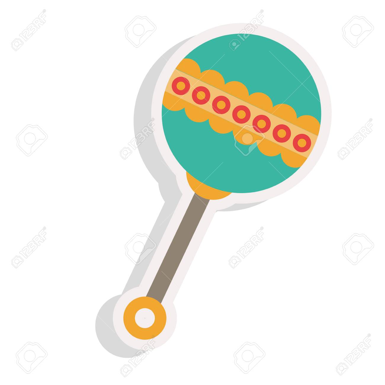 baby rattle toy icon over white background colorful design