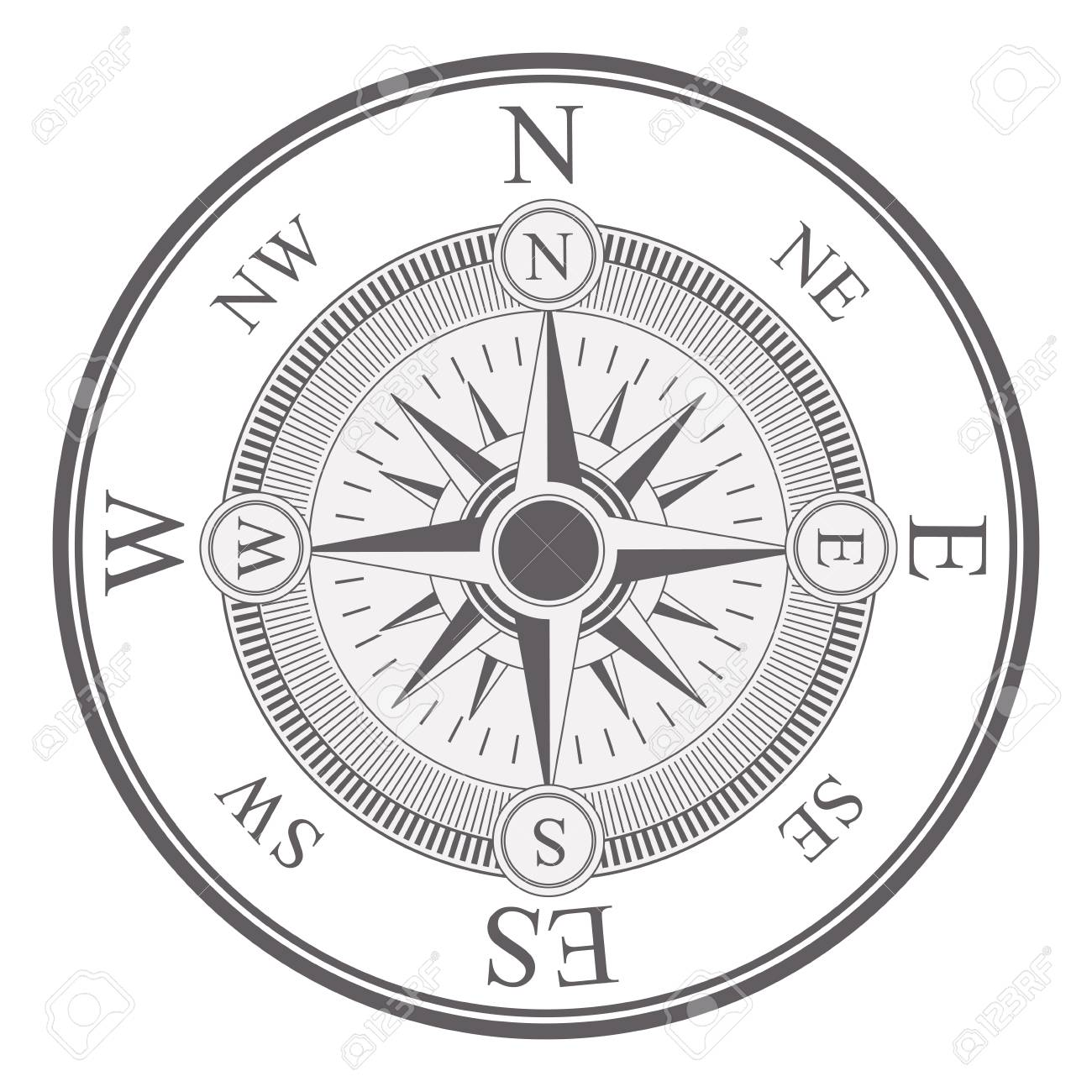 Vintage Compass Wind Rose Icon Over White Background Navigation
