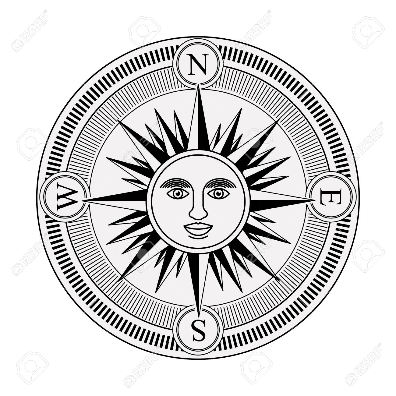 Vintage Compass Rose With The Sun In Center Black And White