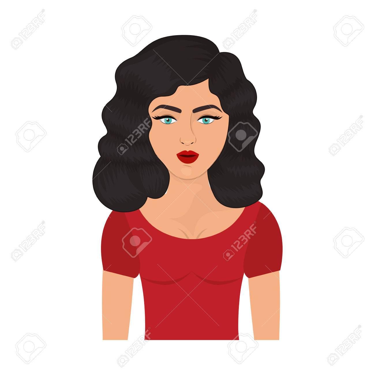 Pelo medio ondulado mujer