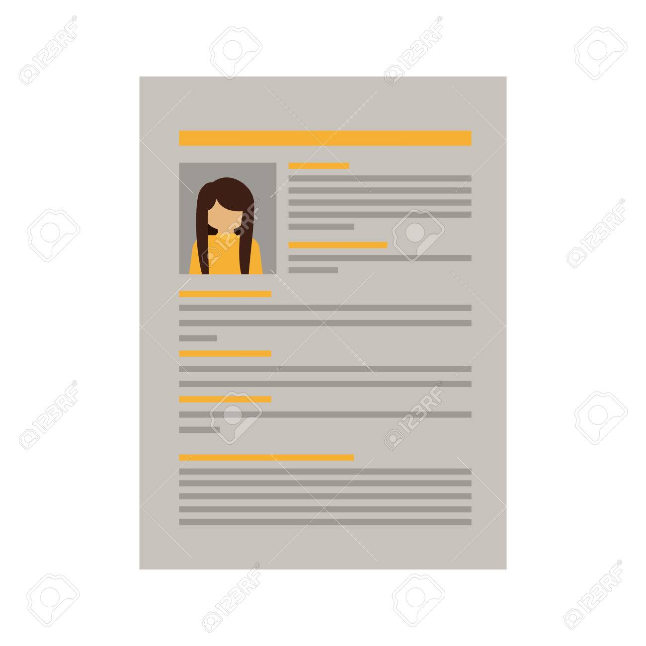 document with woman curriculum vitae vector illustration stock vector 64979985