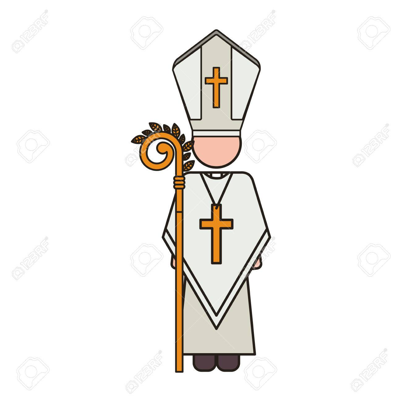 Priest Or Reverend Man With Christian Catholic Religious Icons