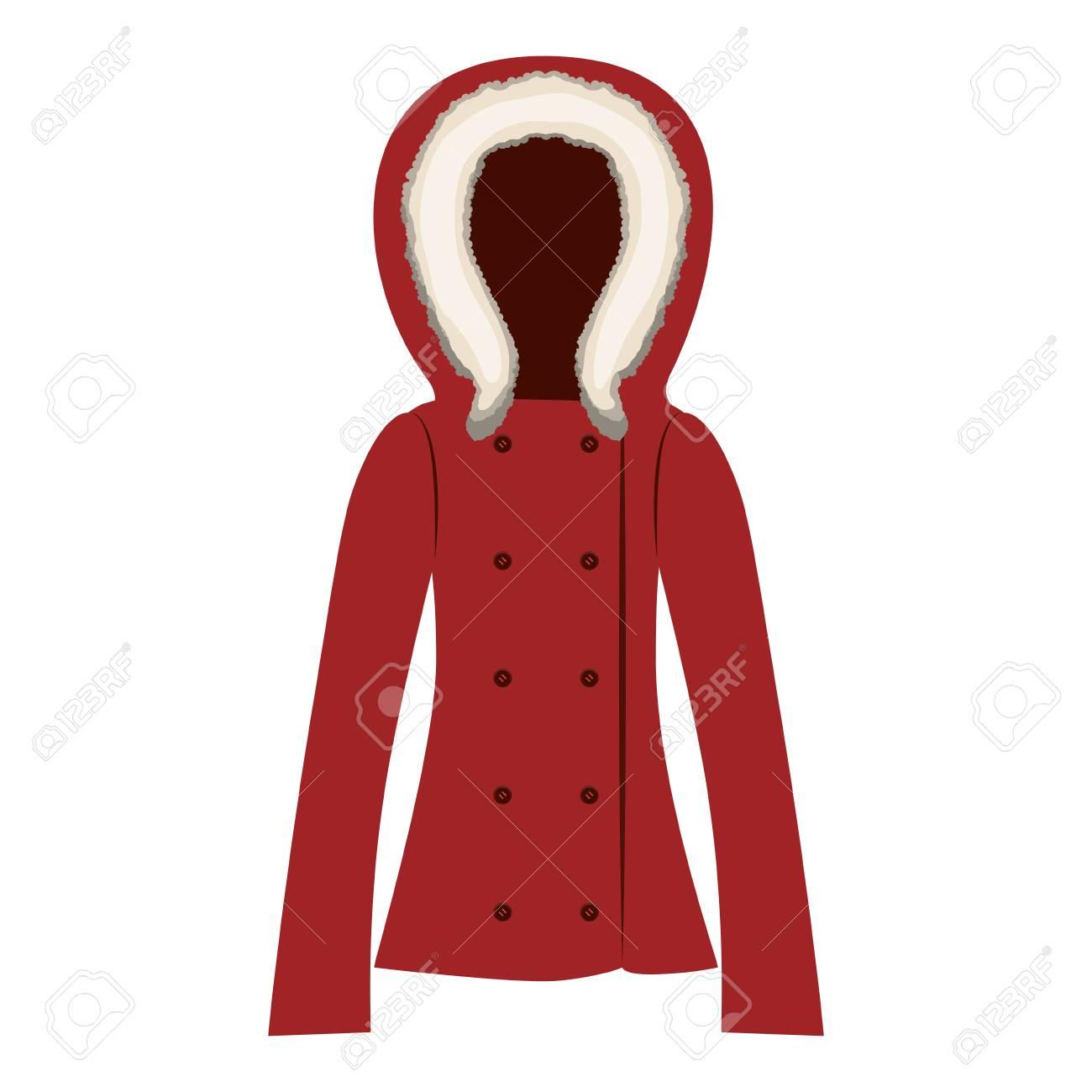 the best attitude 3afe4 6dba8 Icona giacca donna rossa su sfondo bianco. abbigliamento invernale.  illustrazione vettoriale