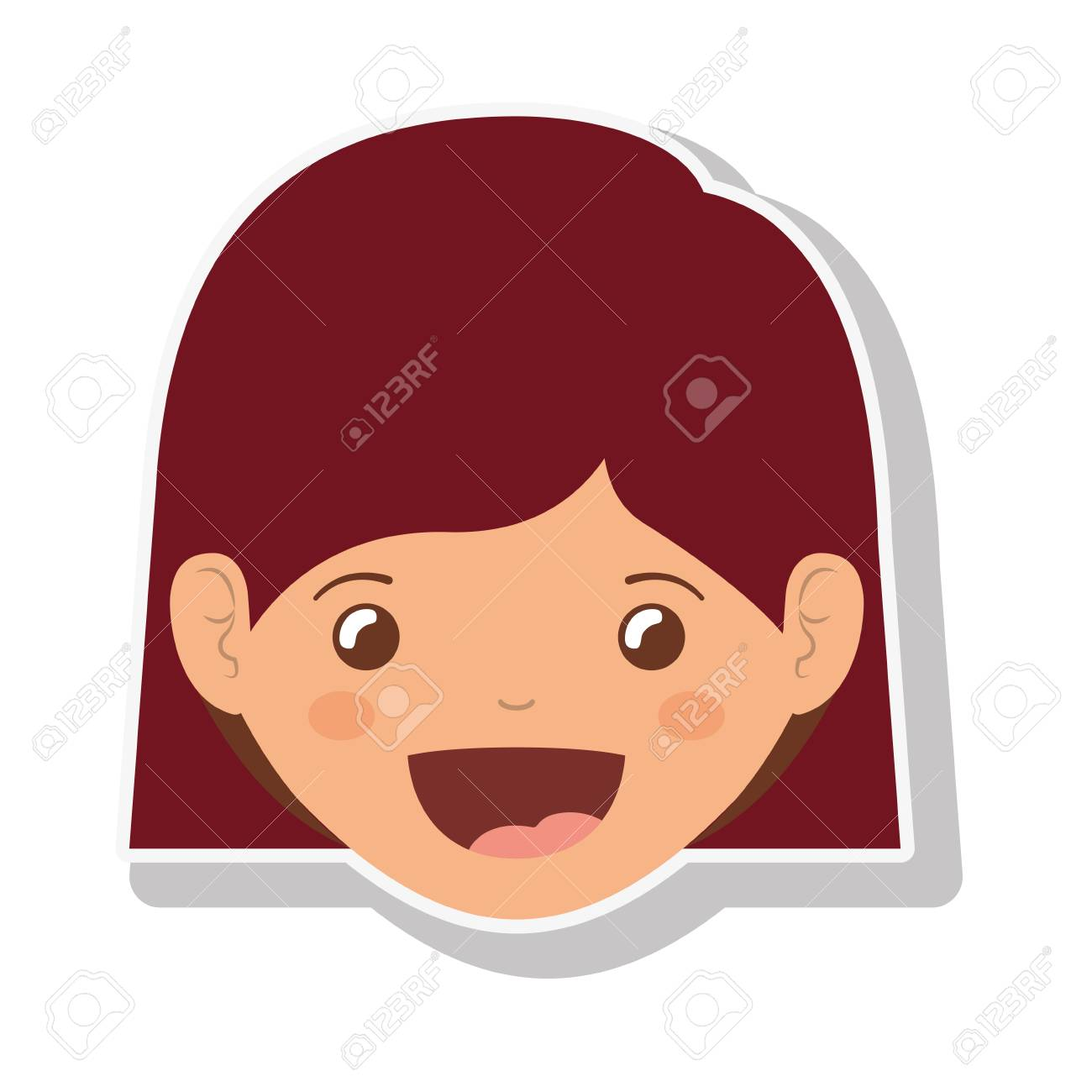 Cara De Niña De Dibujos Animados Sonriendo Icono De Niño Feliz