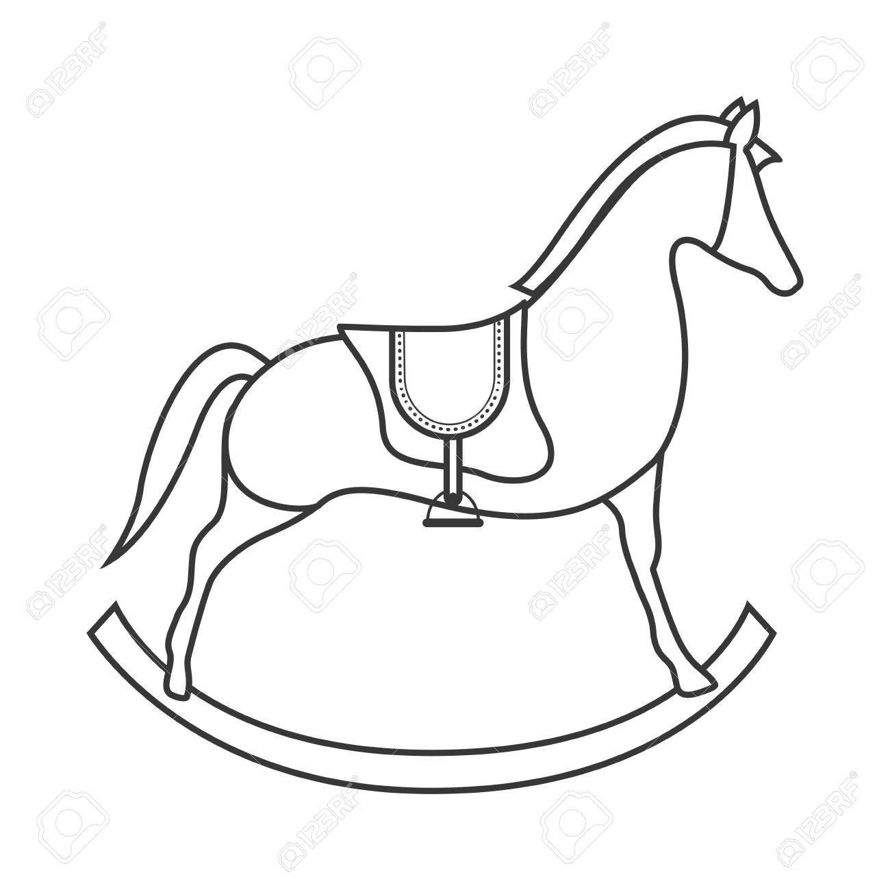 Cavallo Di Legno Giocattolo.Vettoriale Silhouette Di Icone Del Giocattolo Del Bambino Di