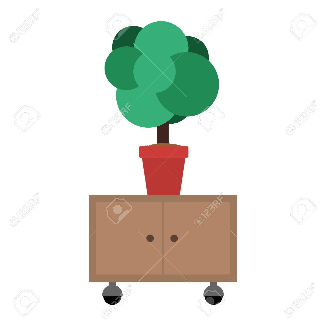 pianta in un vaso su mobile ufficio cassetti in legno con ruote su ... - Mobile Ufficio Bianco