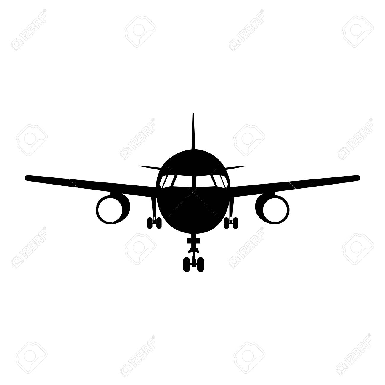 Silhouette Of Airplane Vehicle Over White Background Front View