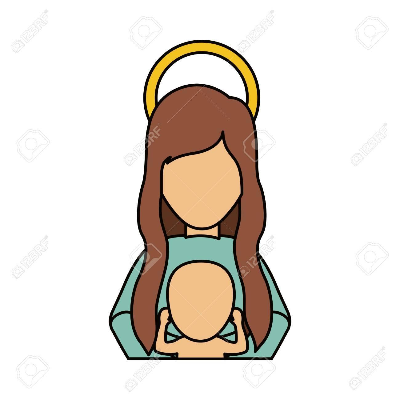 Dibujos De Navidad Con Jesus.Maria Y El Nino Jesus Icono De Dibujos Animados Navidad Noche Santa De La Familia Y El Tema Betlehem Diseno Aislado Ilustracion Vectorial