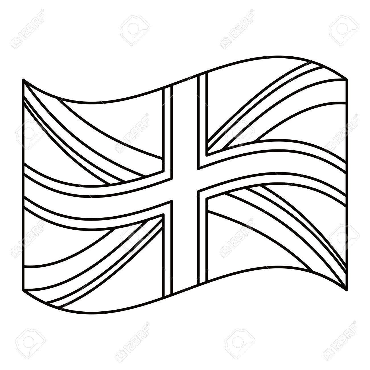 United Kingdom Flag Icon London Uk Landmark Tourism And England Theme Isolated Design