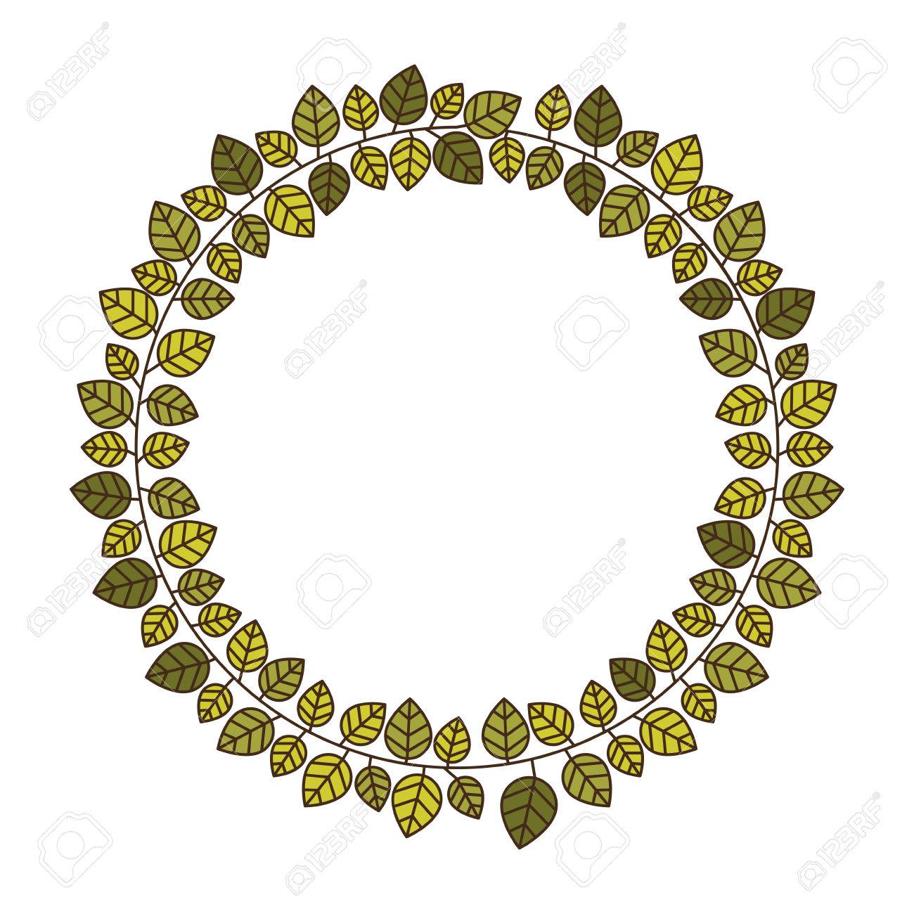 Marco Circular De Hojas Verdes Con La Ilustración Del Vector De ...