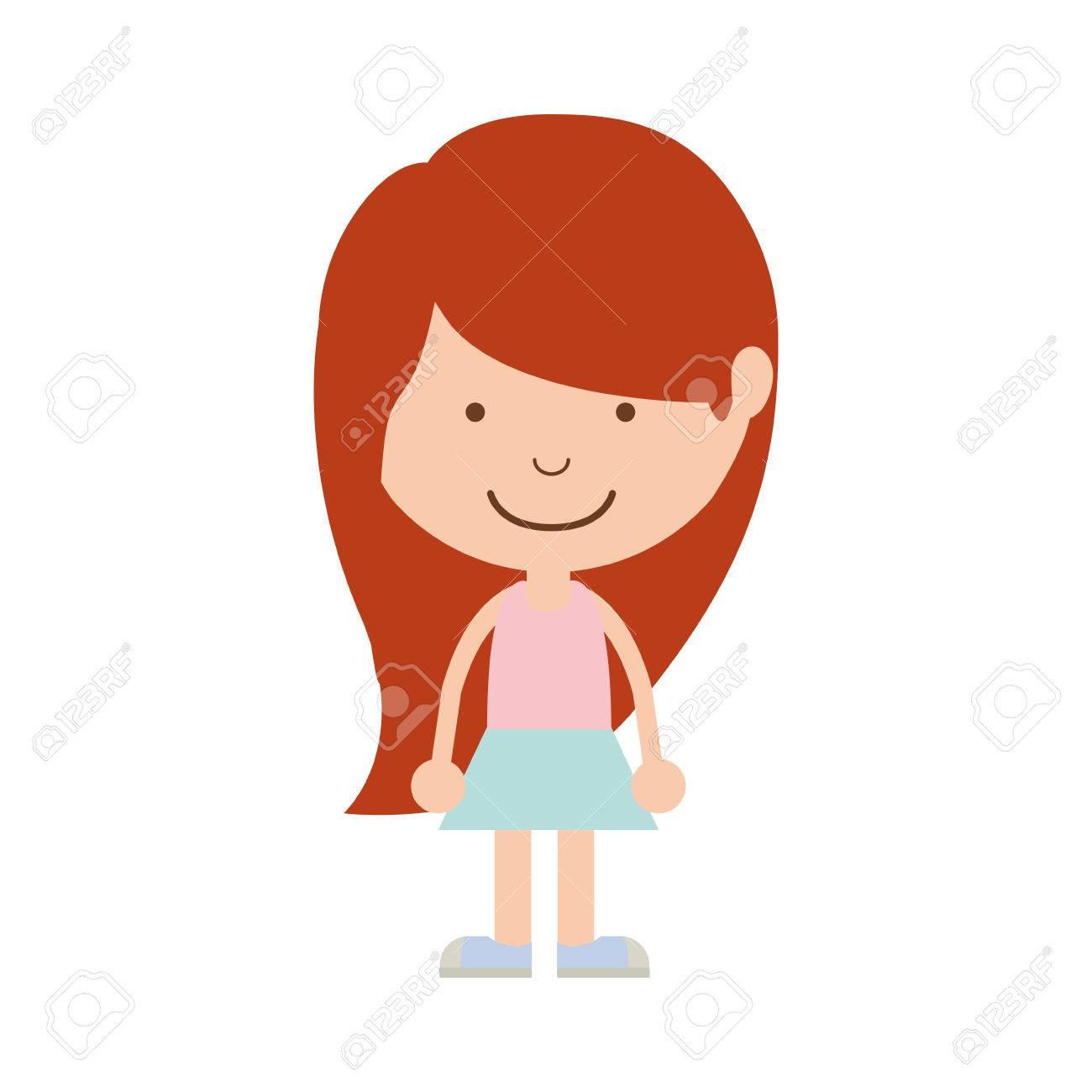 シルエット スカート ベクトル イラスト赤毛の女の子のイラスト素材