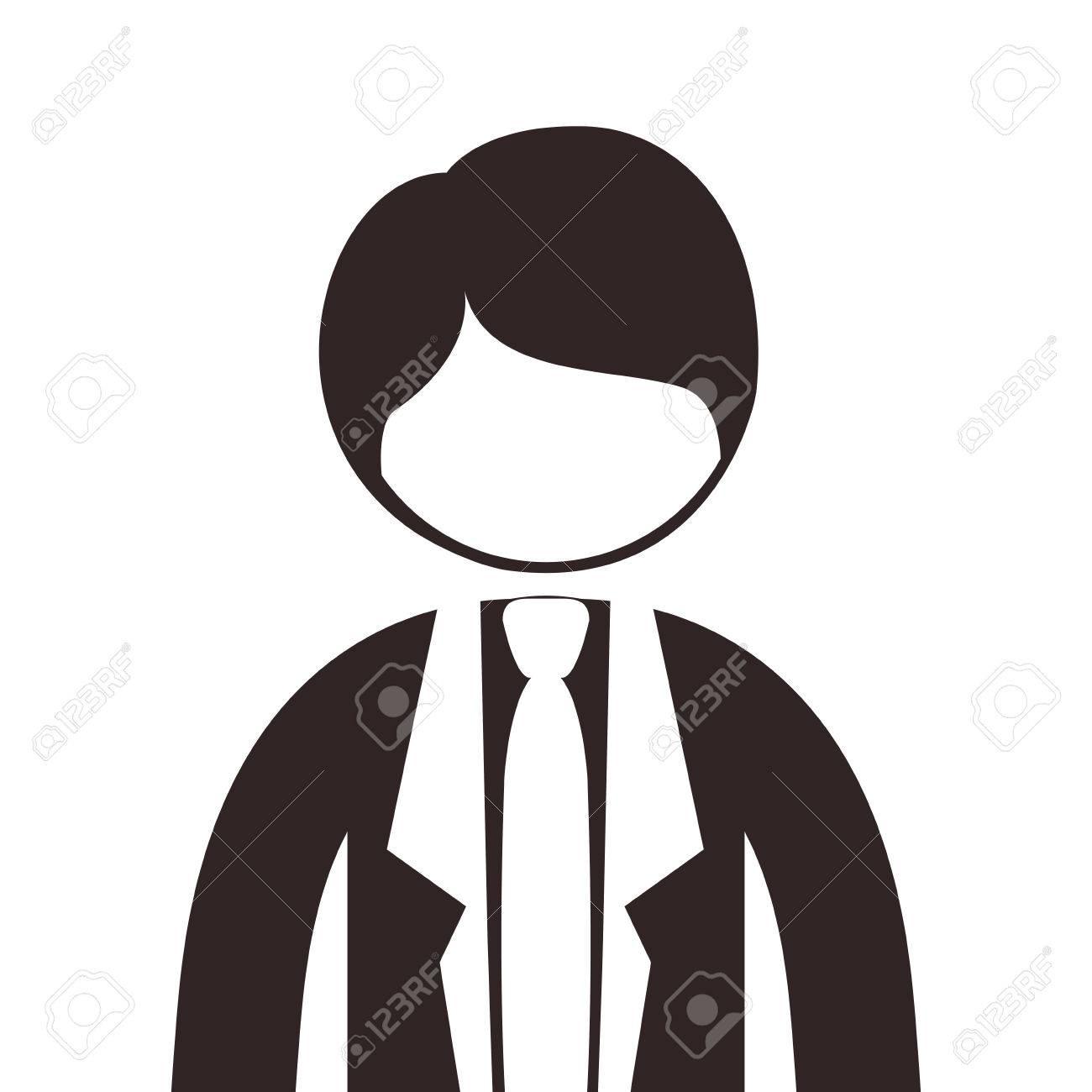 シルエット半身男スーツ ネクタイ ベクトル イラストのイラスト素材