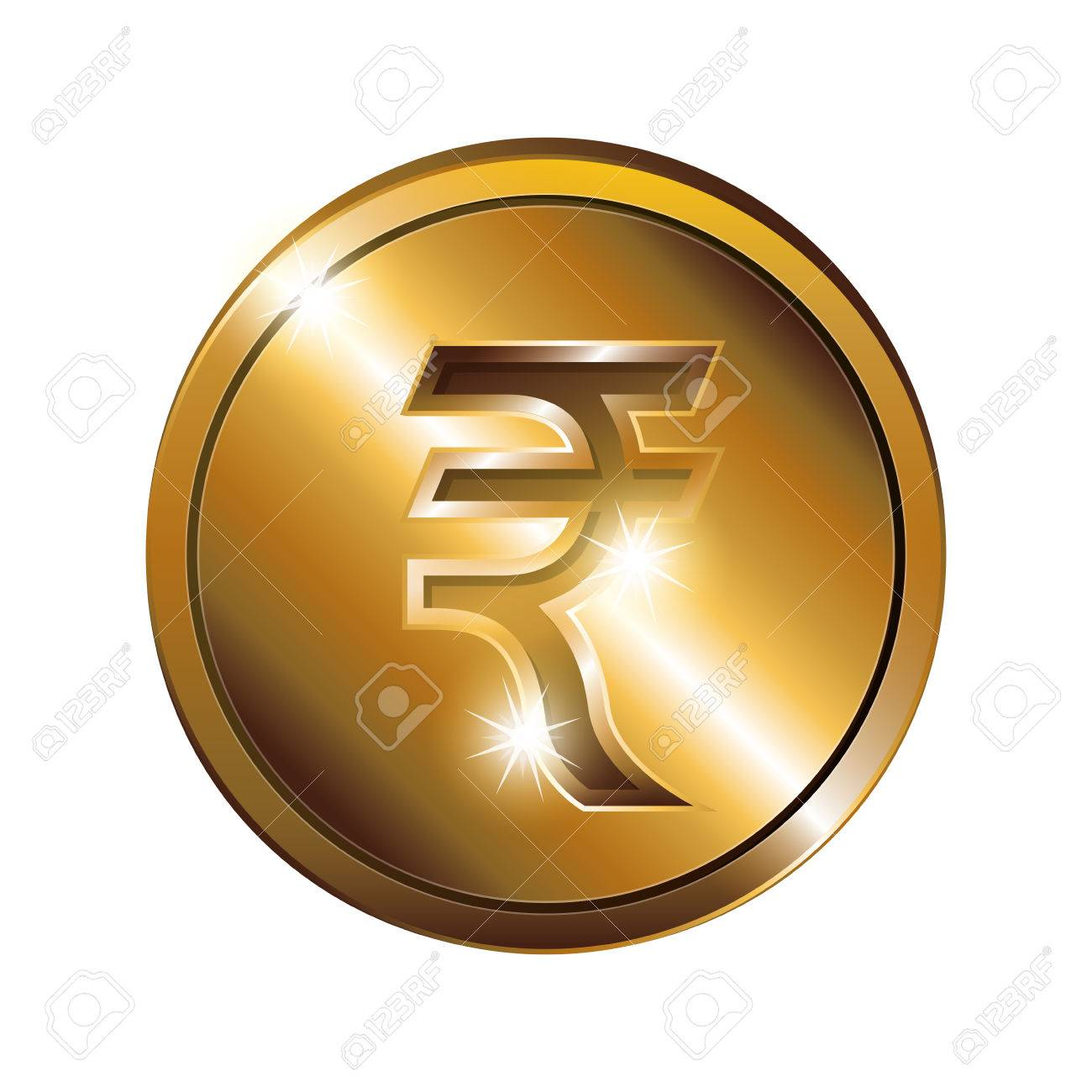 Silhouette Of Coin Gold And Currency Symbol India Rupee Vector
