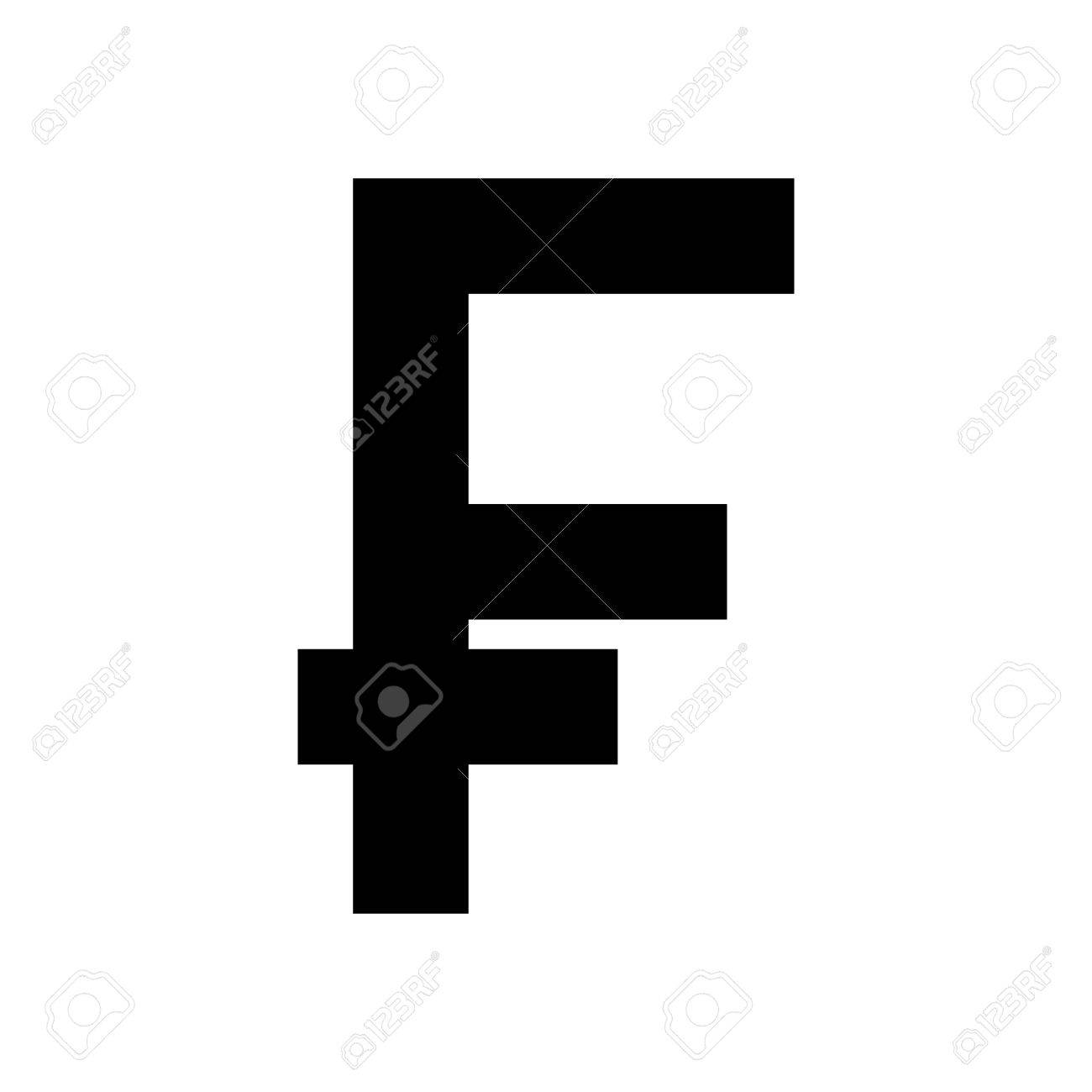 Silhouette With Currency Symbol Of Frank French And Belgian In