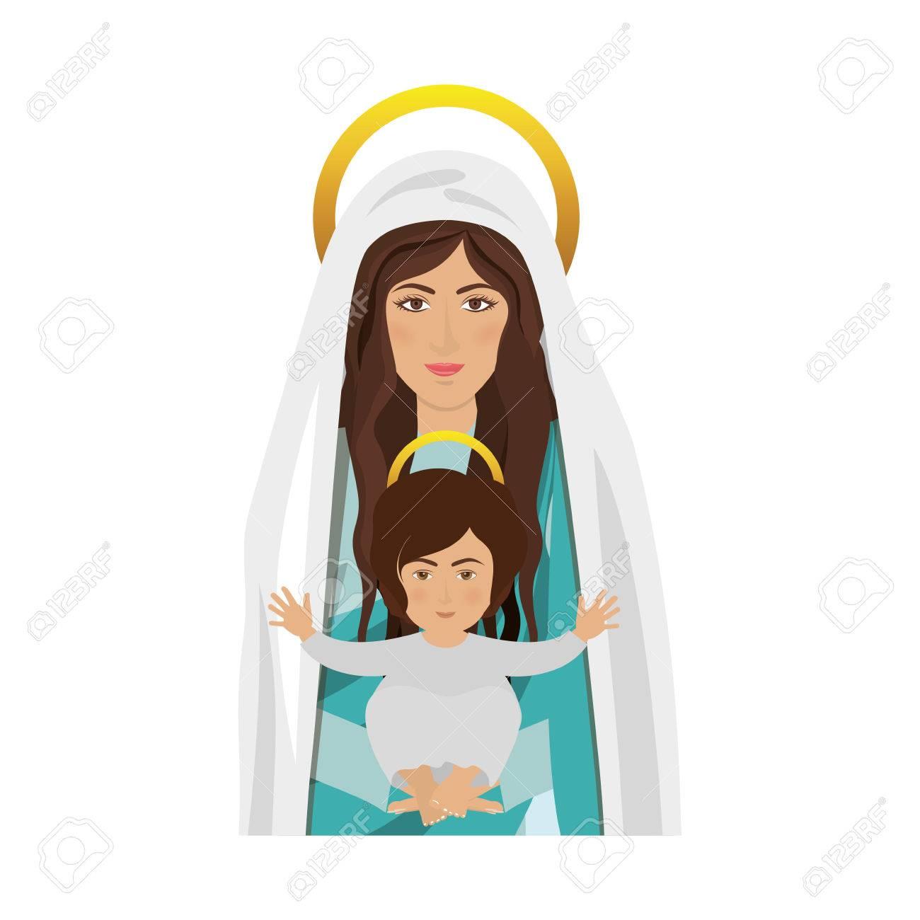 De Dibujos Animados Virgen María Con El Niño Jesús En Los Brazos Sobre Fondo Blanco Símbolo Religioso Diseño Colorido Ilustración