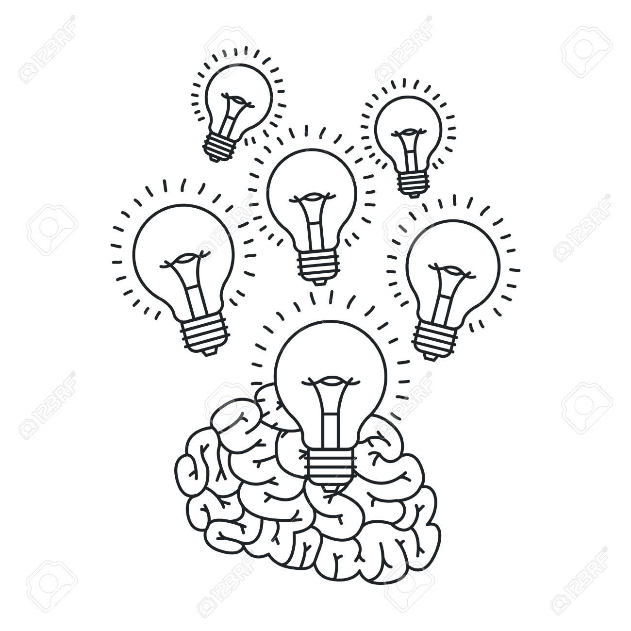 Vettoriale Icona Di Disegno Di Cervello E Lampadina Grande Idea