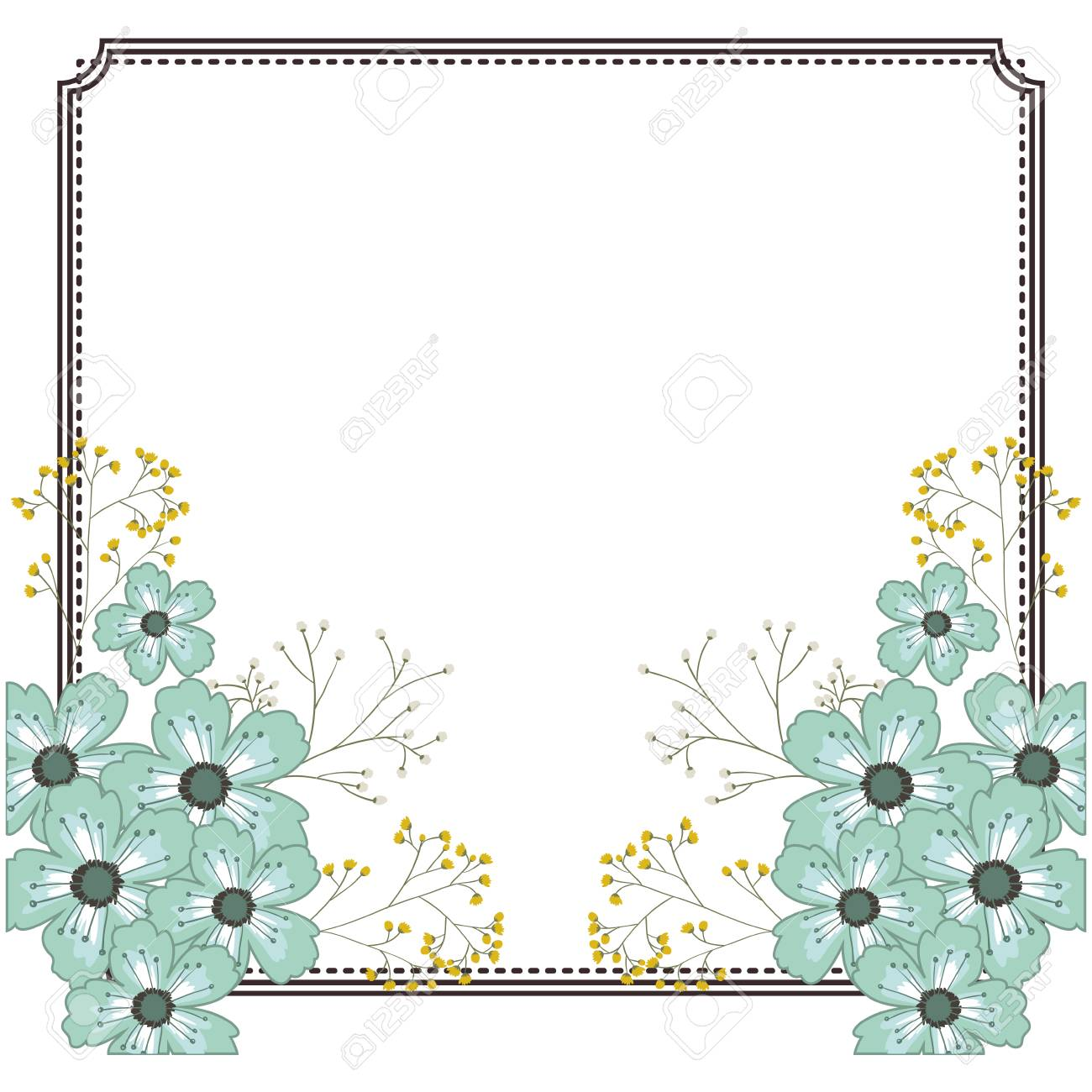 Flowers Frame Icon Decoration Rustic Garden Floral Nature Plant And Spring Theme Isolated Design