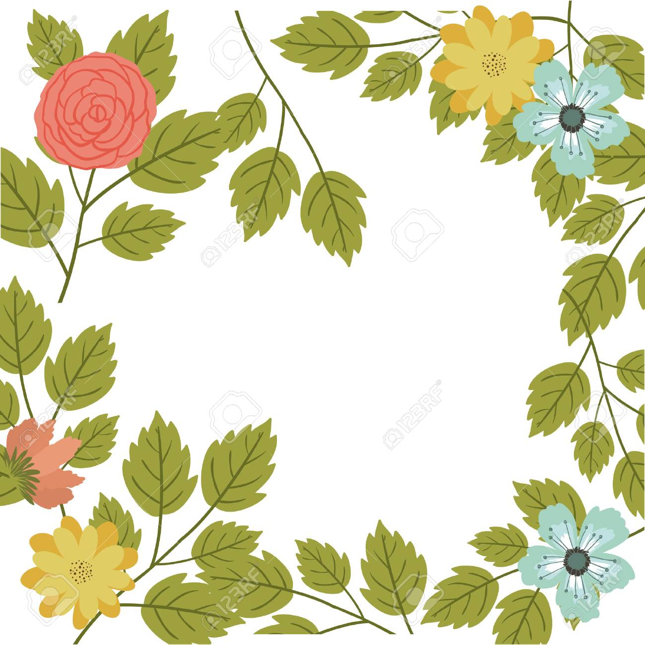 Icono De Marco De Flores Y Hojas. Decoración Jardín Rústico ...
