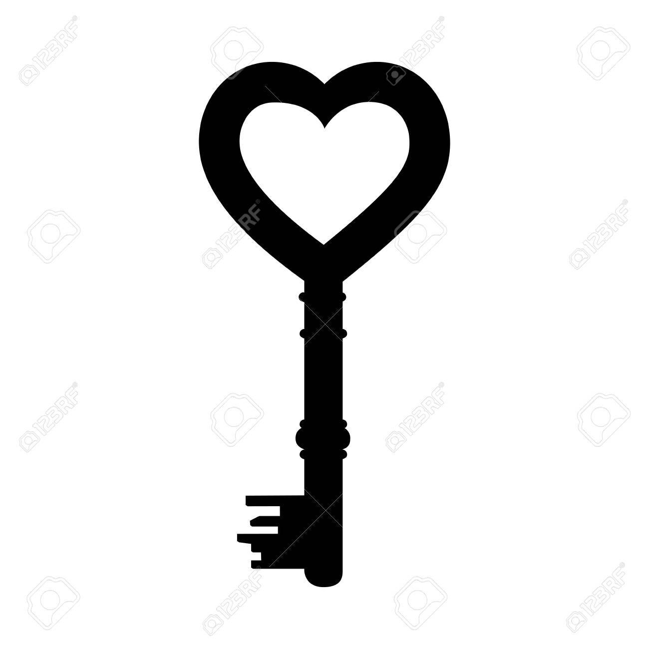 Heart Shape Vintage Key Icon Image Vector Illustration Design