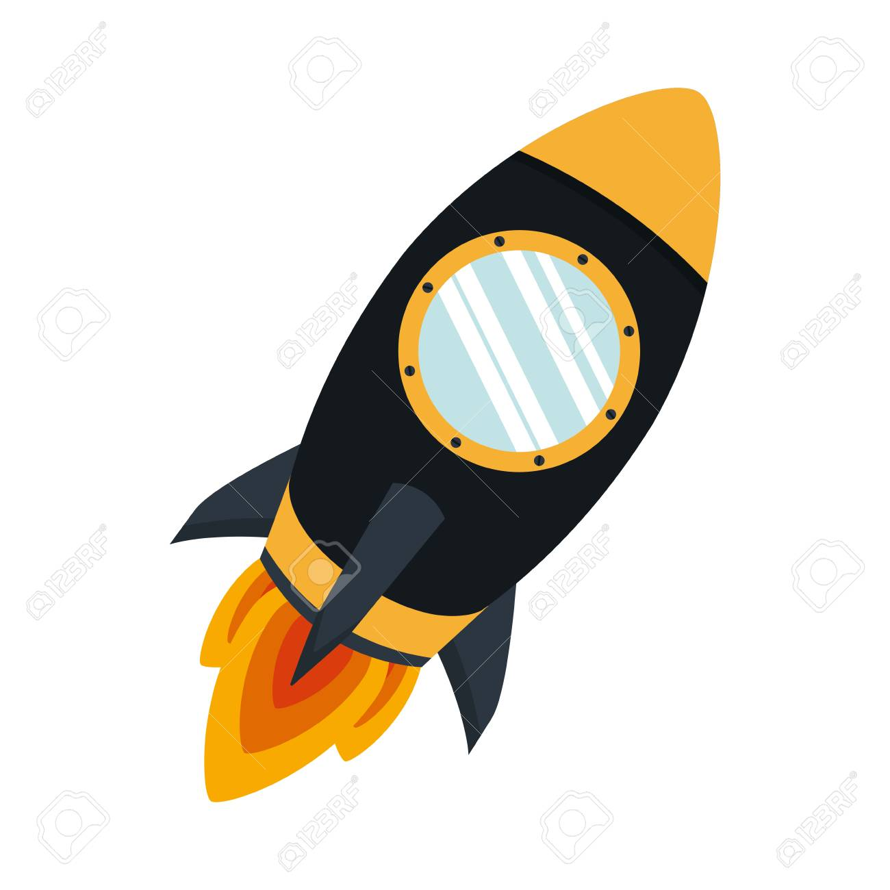 Color De La Silueta Con La Ilustración De Vector De Cohete Espacial ...