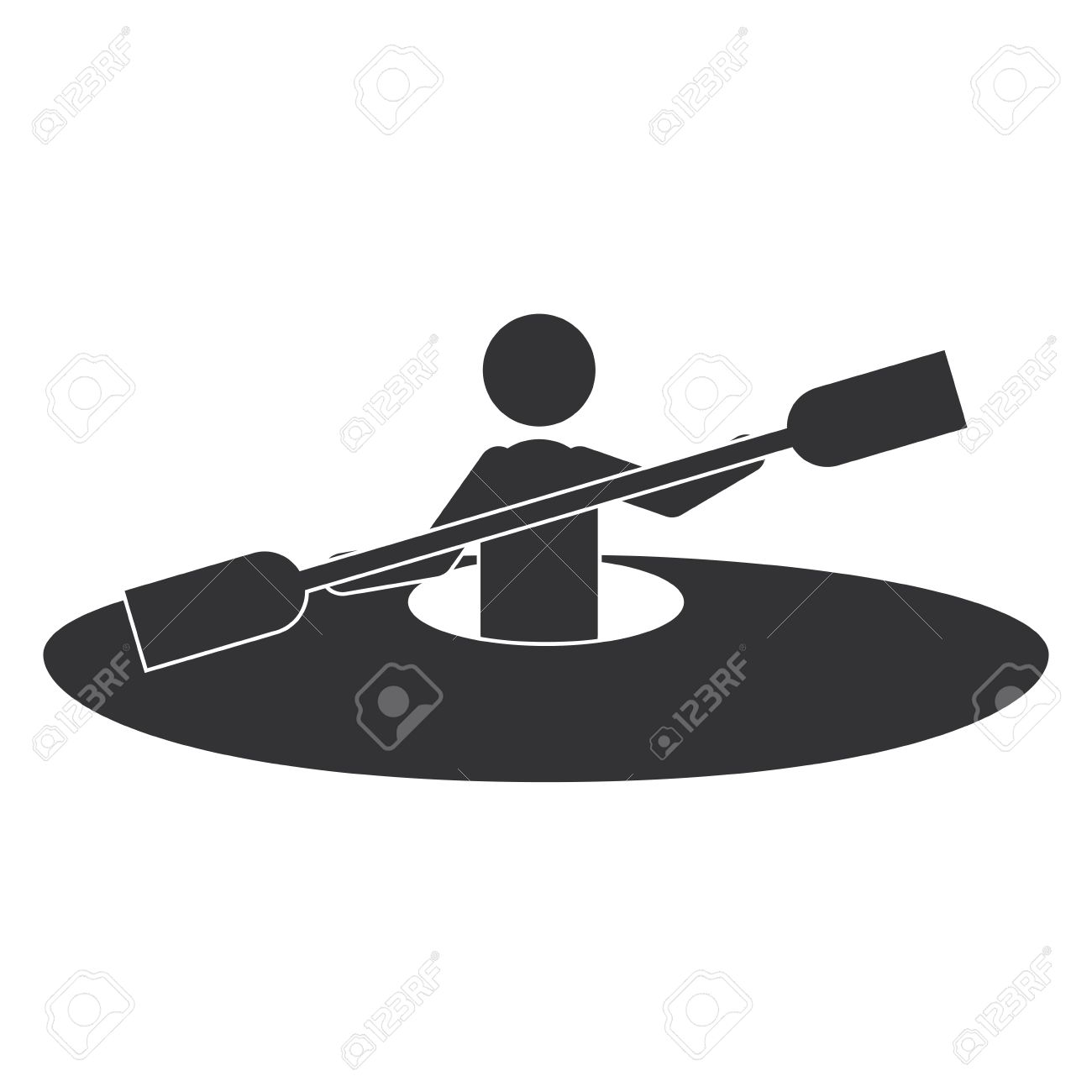Monochrome Silhouette With Man And Kayak Rowing Vector Illustration Stock