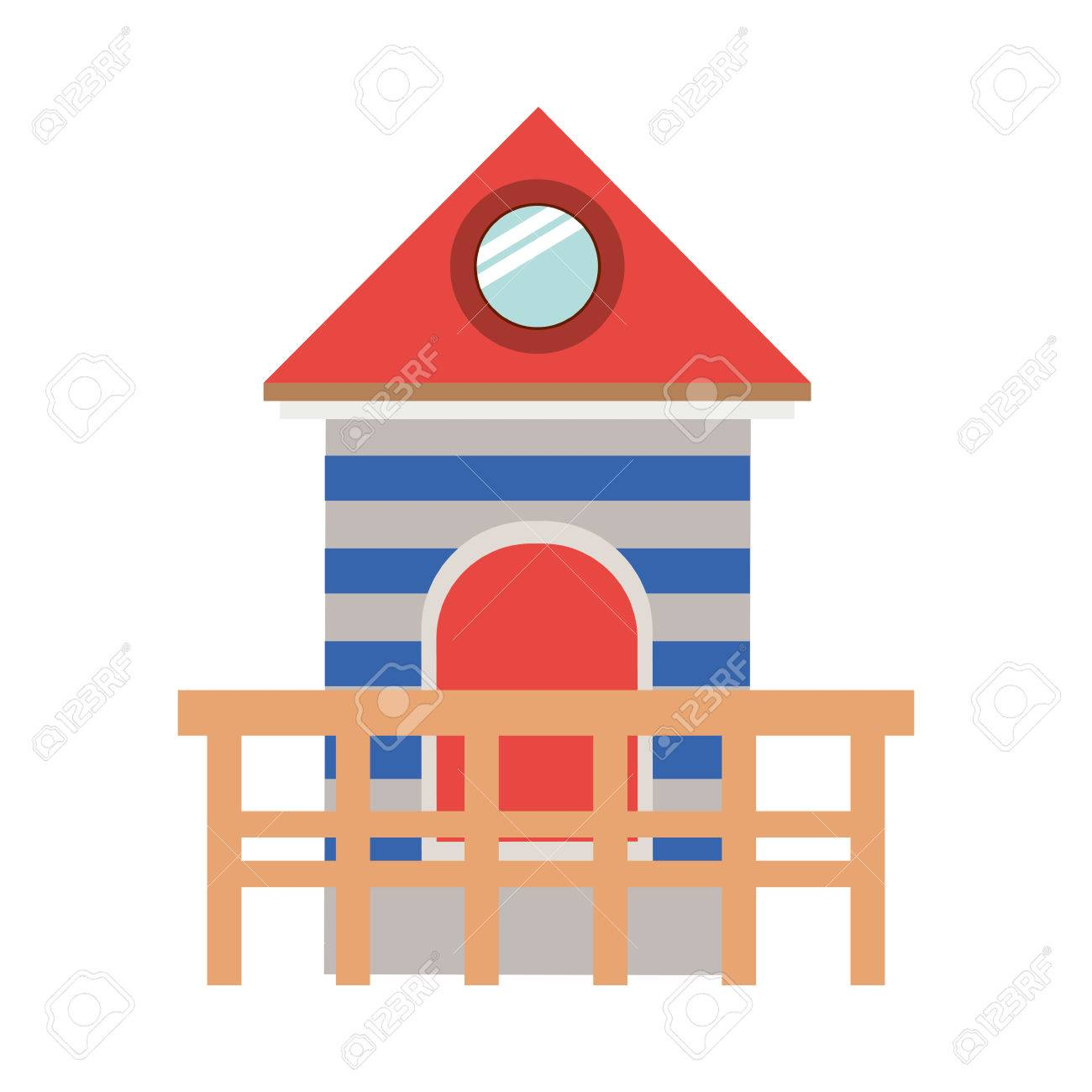 full color with lifeguard stand tower vector illustration royalty rh 123rf com