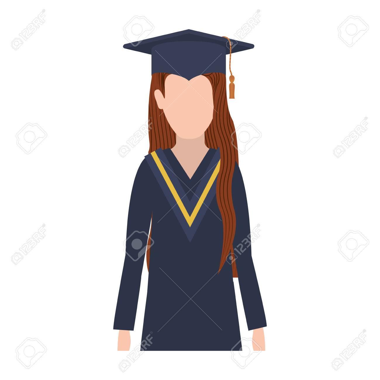 544a97cd4 Foto de archivo - Mujer de medio cuerpo con traje de graduación y la  ilustración vectorial cabello castaño