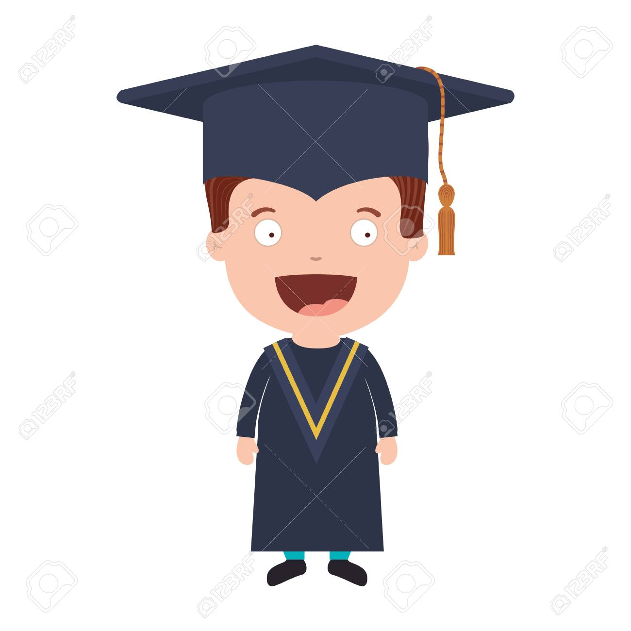 avatar boy with graduation outfit vector illustration royalty free