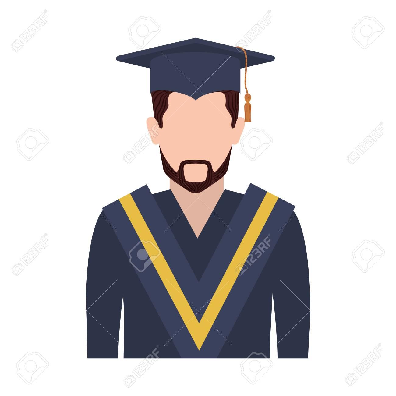 d4f507583 Foto de archivo - Hombre de medio cuerpo con traje de graduación con la  ilustración del vector de la barba