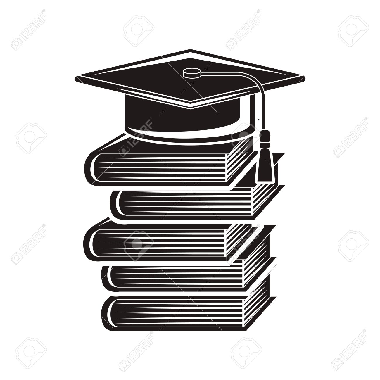 Black Silhouette Graduation Cap With Stacked Books Vector ...