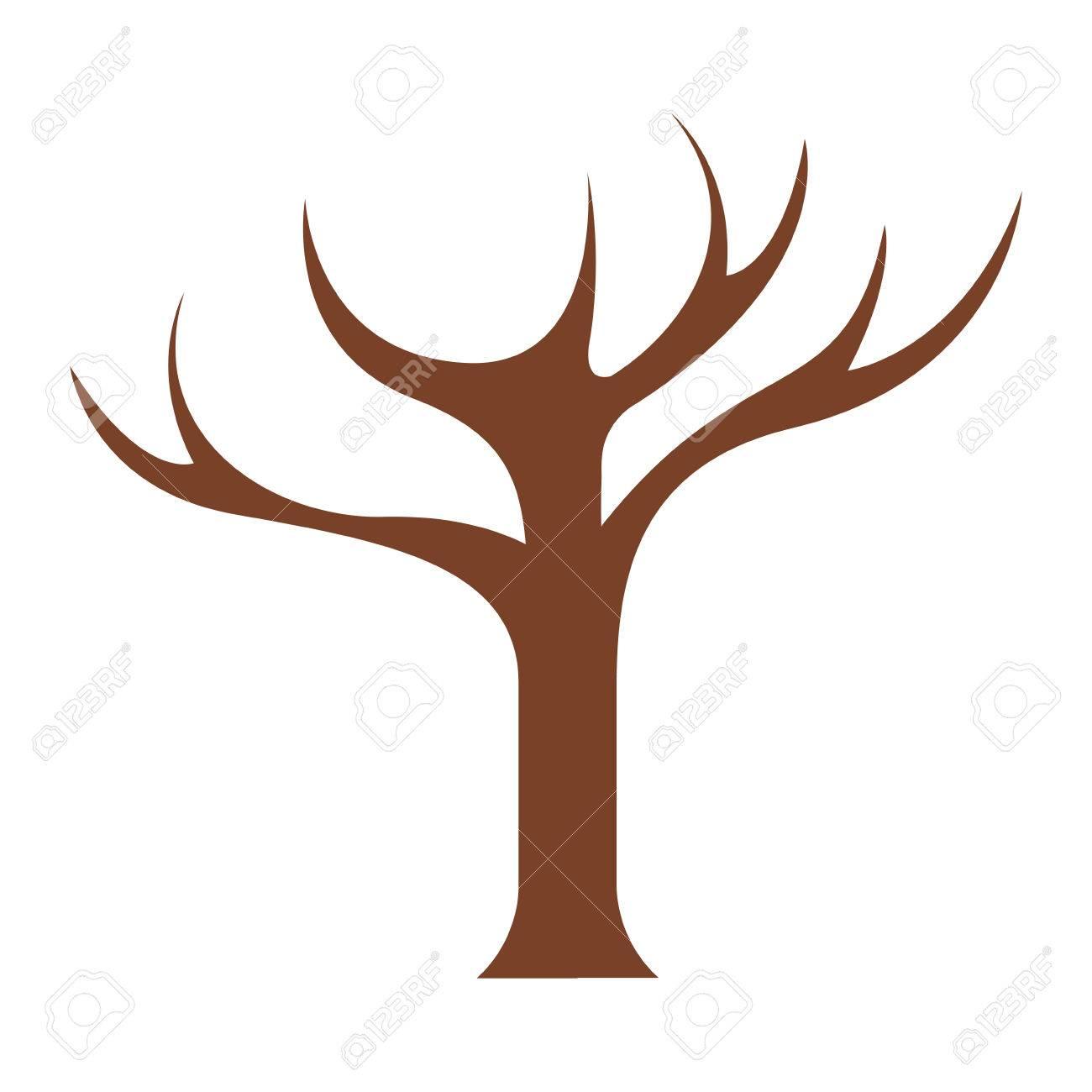 tronco de árbol con ramas sin hojas ilustración vectorial primer