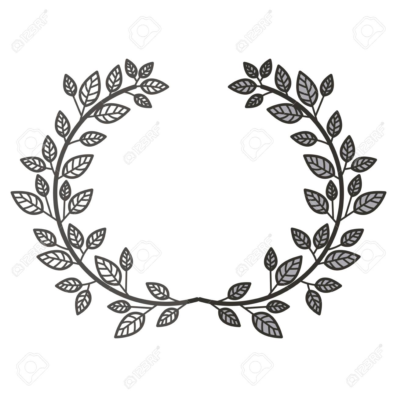Leaves wreath icon rustic decoration nature spring and invitation leaves wreath icon rustic decoration nature spring and invitation theme isolated design vector stopboris Image collections