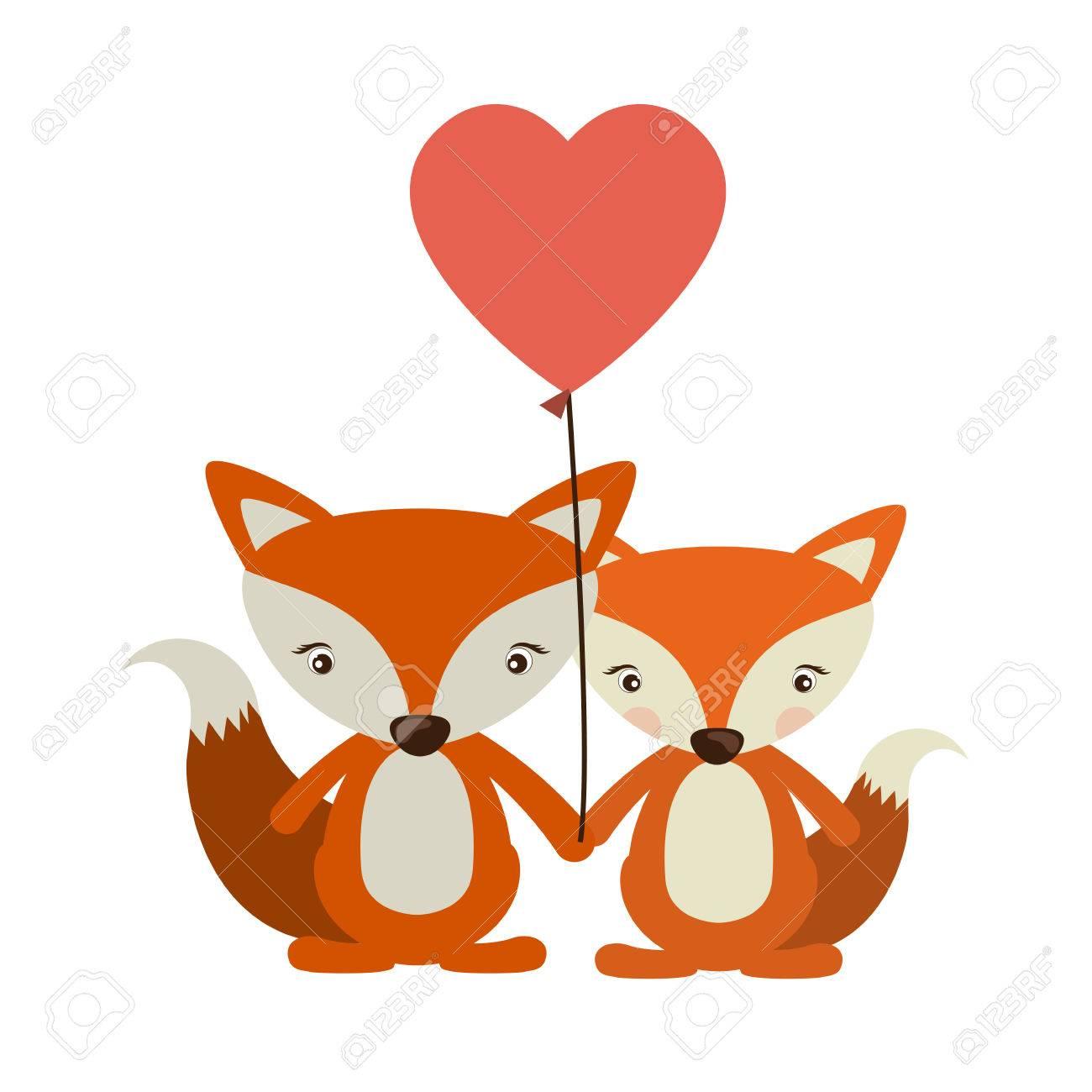 De Dibujos Animados Fox En Icono Del Amor Animal Lindo Adorable