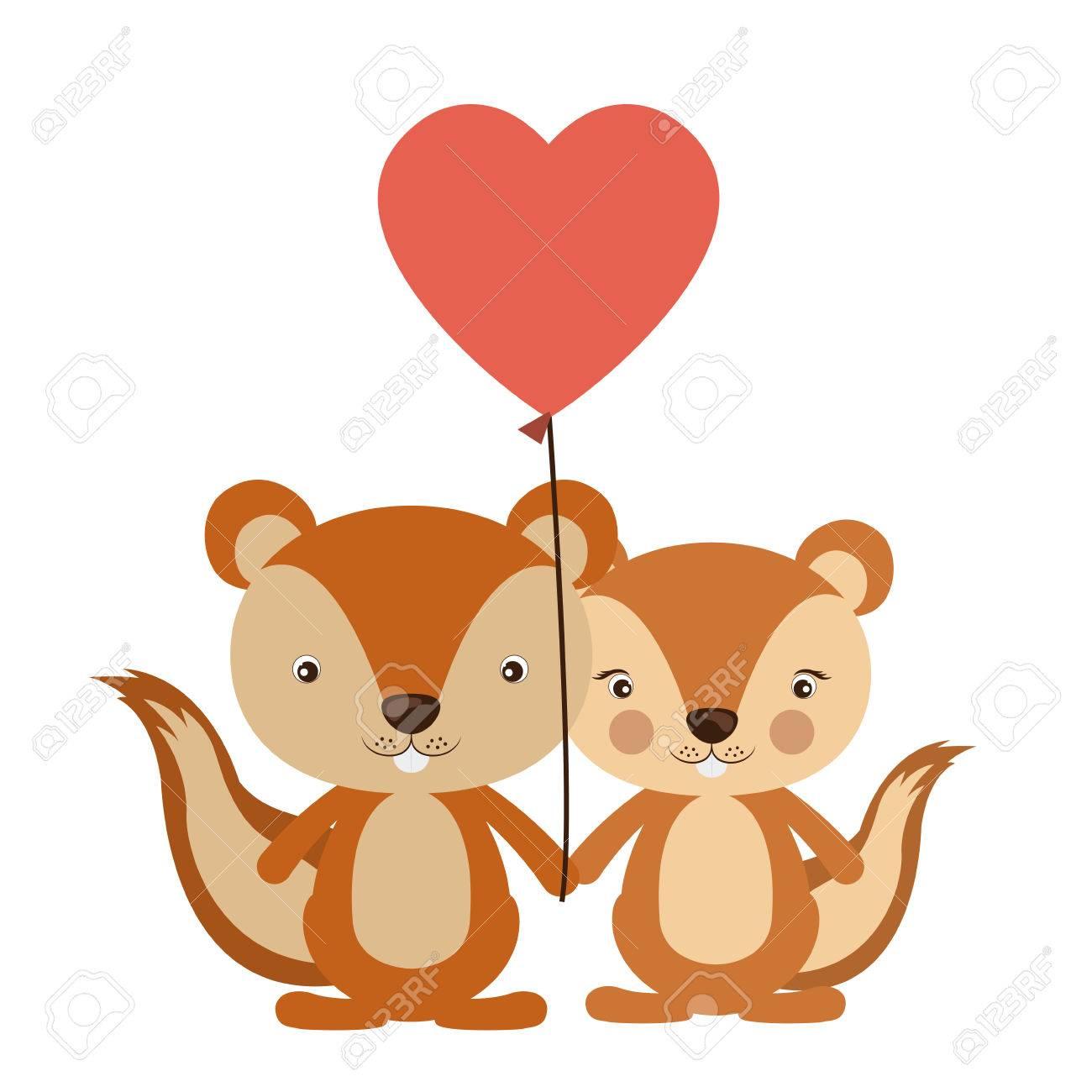 De Dibujos Animados Ardilla En Icono Del Amor Animal Lindo Adorable
