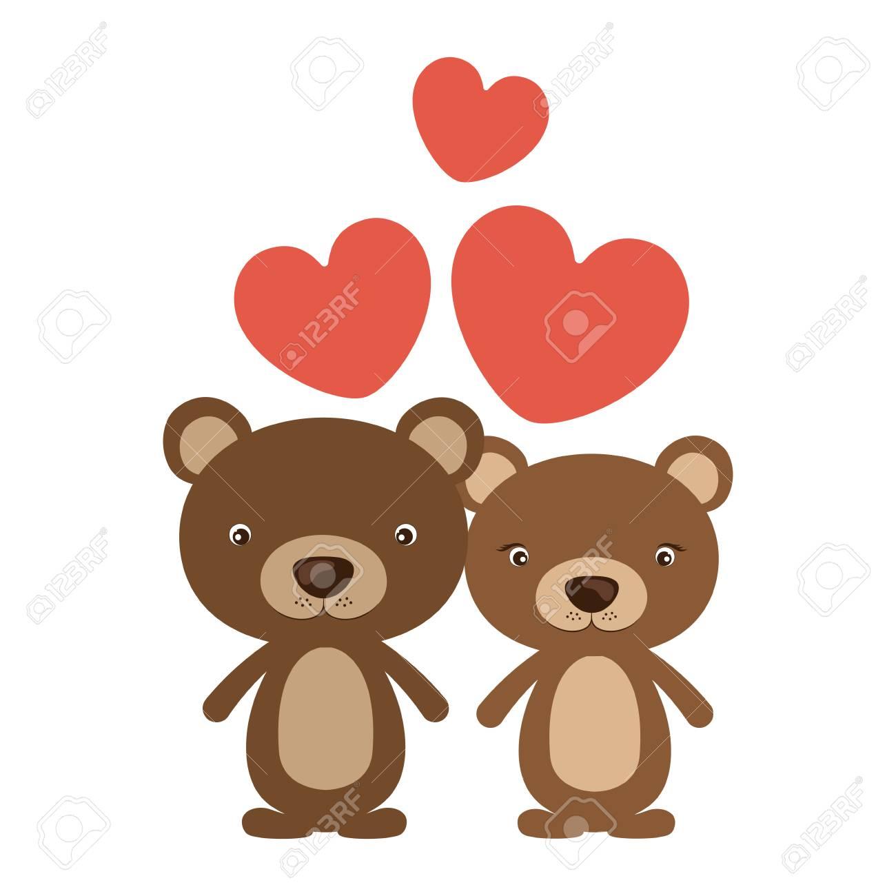Oso De Dibujos Animados En Icono Del Amor Animal Lindo Adorable